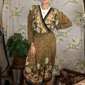 Vintage 80s rayon skirt set